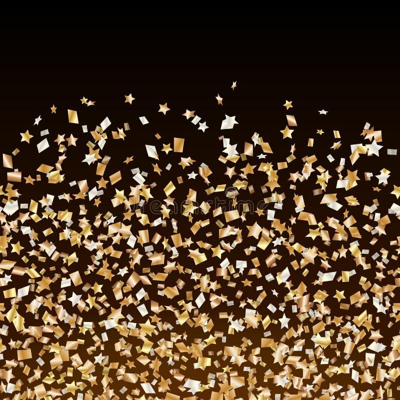 Frontière d'or de confettis d'étoiles illustration libre de droits