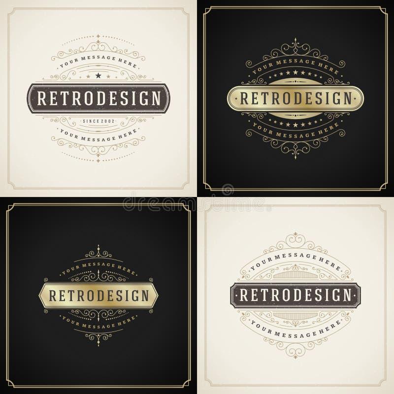 Frontière d'or et grunge d'ornement de vintage de style illustration stock
