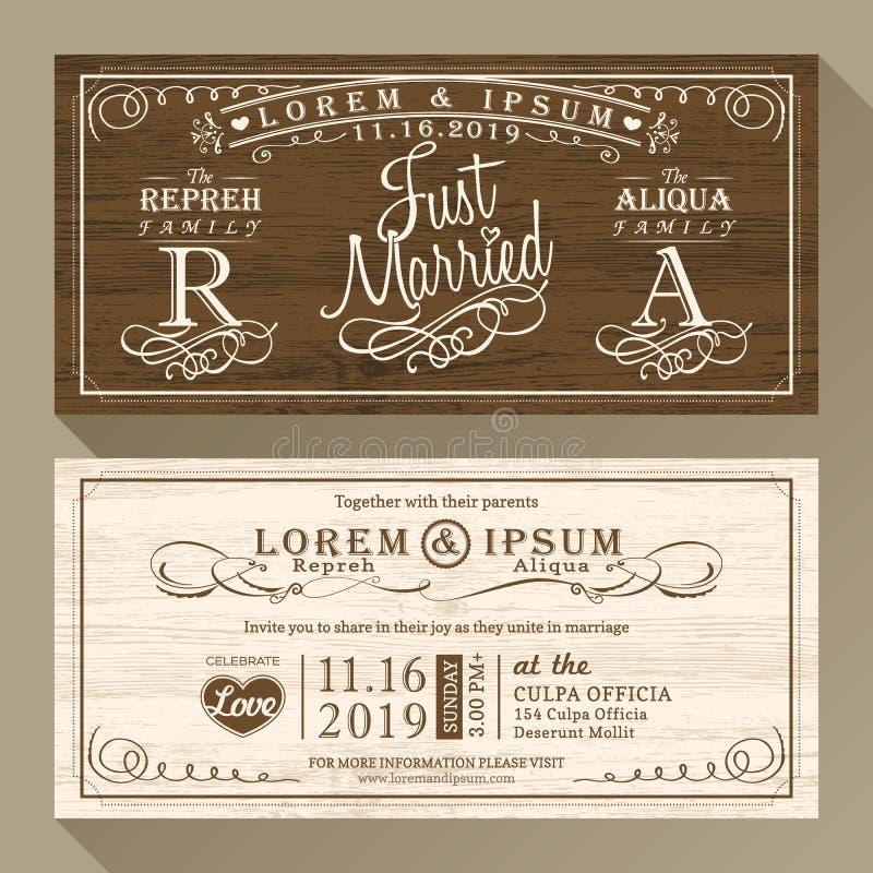 Frontière d'invitation de mariage de vintage et calibre de cadre illustration de vecteur