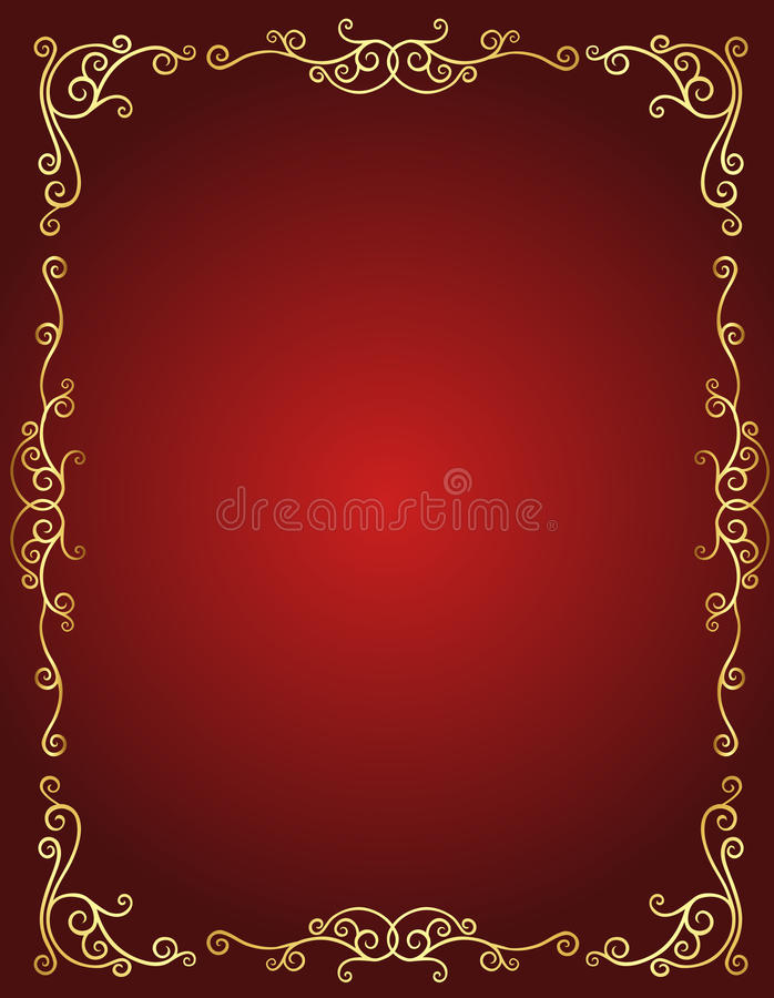 Frontière d'invitation de mariage en rouge et or illustration libre de droits