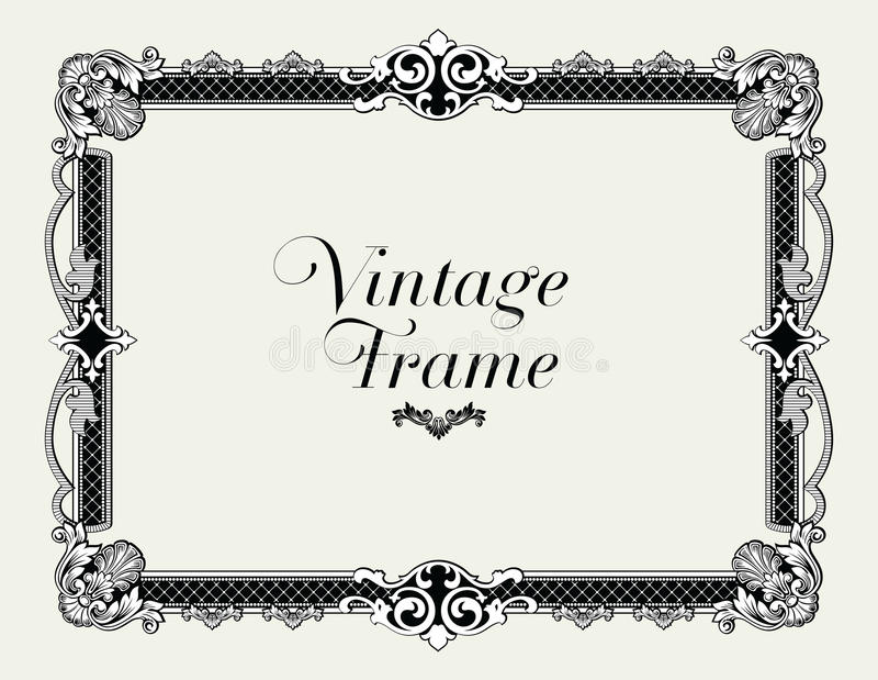 Frontière d'ornement de vintage Vecteur floral décoratif de cadre illustration libre de droits