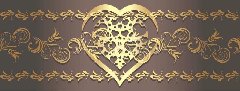 Frontière d'or ornementale avec le coeur brillant illustration libre de droits