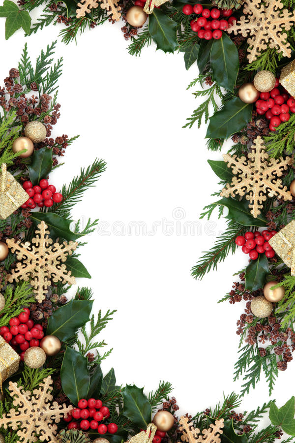 Frontière de babiole de flocon de neige de Noël photographie stock