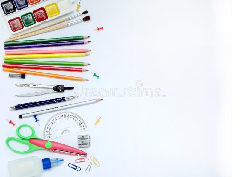 Frontière de côté de fournitures scolaires illustration libre de droits