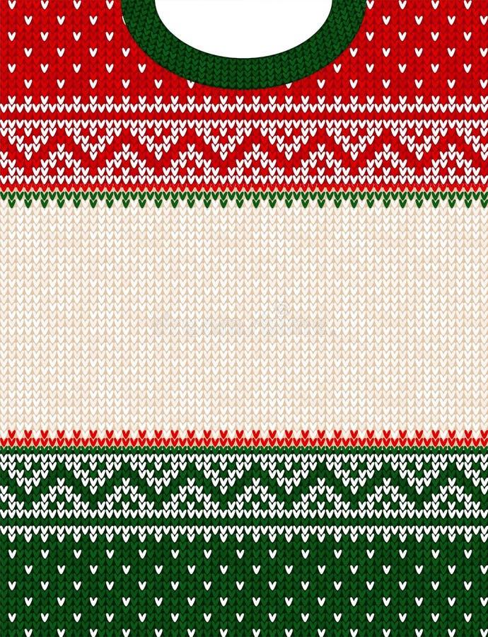 Frontière de cadre de fond tricotée par style scandinave laid d'ornement de Joyeux Noël de chandail images libres de droits