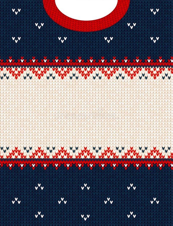 Frontière de cadre de fond tricotée par style scandinave laid d'ornement de Joyeux Noël de chandail photos libres de droits