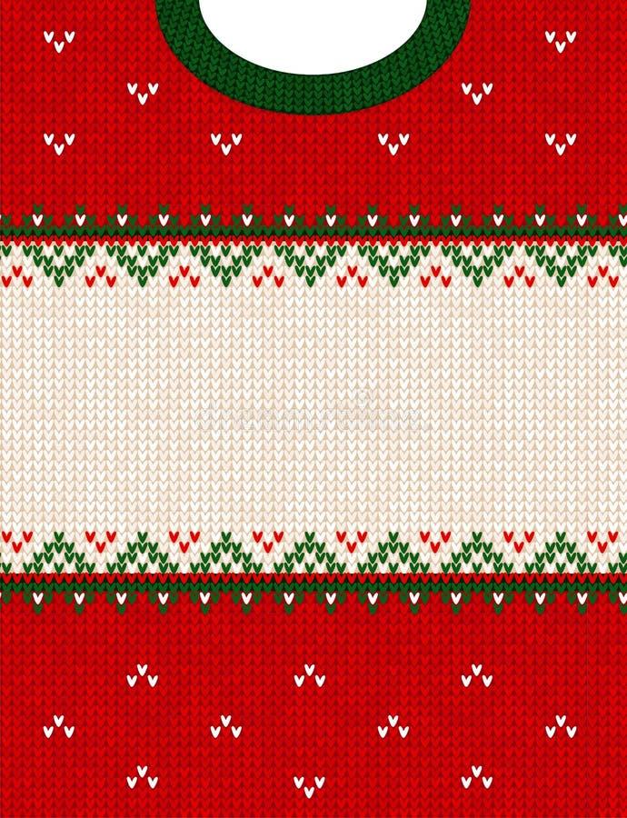 Frontière de cadre de fond tricotée par style scandinave laid d'ornement de Joyeux Noël de chandail image stock