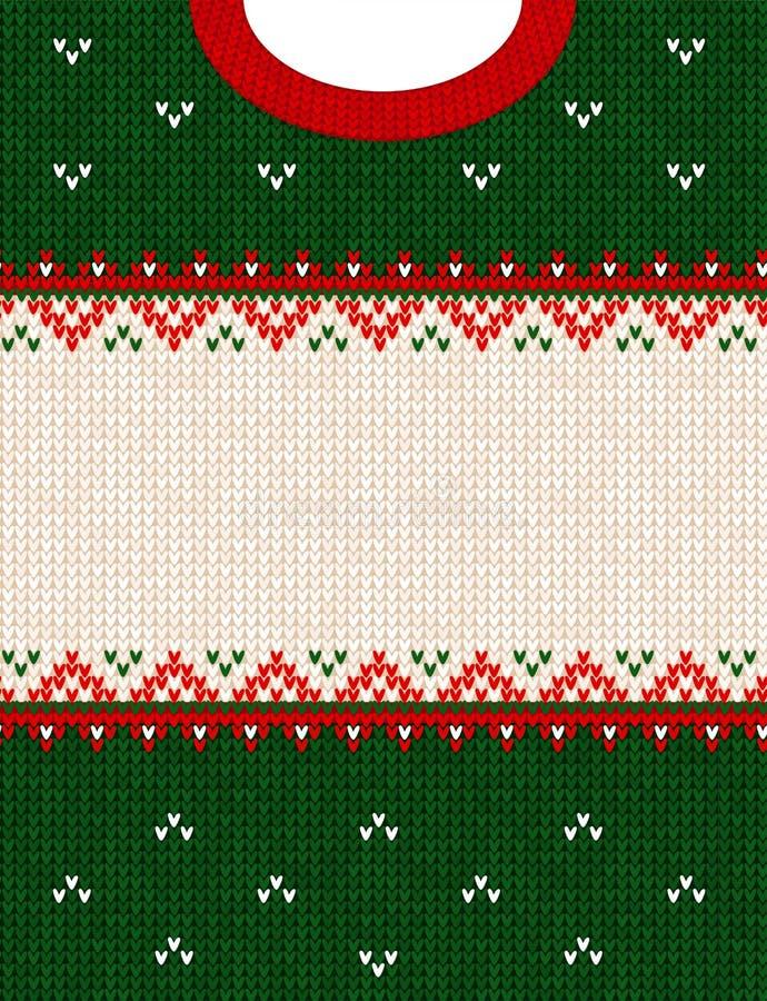 Frontière de cadre de fond tricotée par style scandinave laid d'ornement de Joyeux Noël de chandail photographie stock
