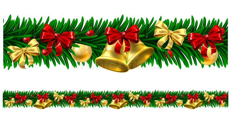 Frontière de conception de guirlande de babioles d'arbre de Noël illustration stock