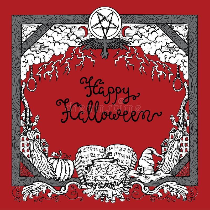 Frontière de Halloween avec le lettrage et symboles traditionnels sur le fond rouge illustration libre de droits