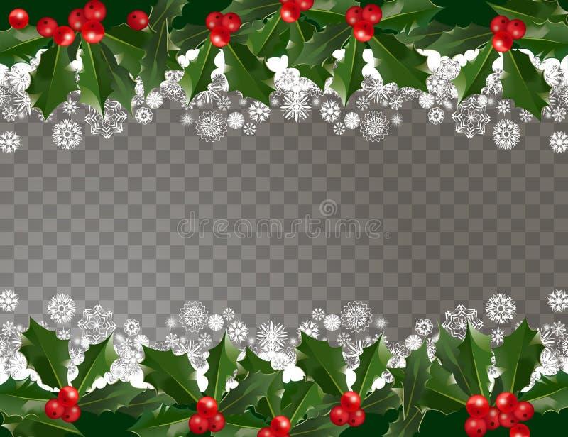 Frontière de modèle de guirlande de Joyeux Noël et de bonne année avec des baies et des flocons de neige de houx sur le fond tran illustration stock