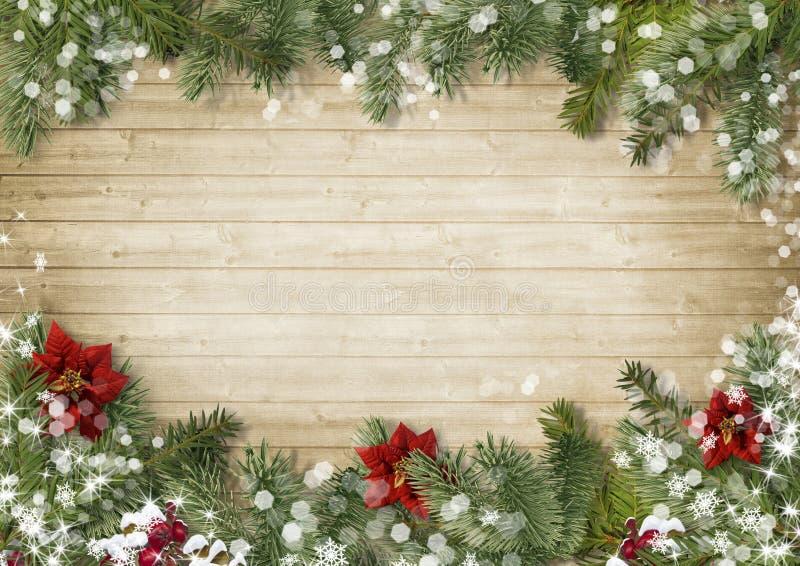 Frontière de Noël avec le fond en bois d'onold de poinsettia photographie stock libre de droits