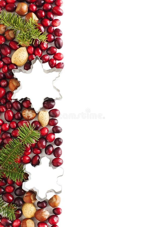 Frontière de Noël avec les canneberges, la branche impeccable et le coupeur de biscuit photographie stock