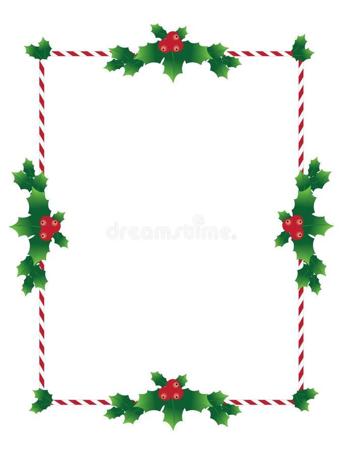Frontière de Noël avec les feuilles saintes illustration de vecteur