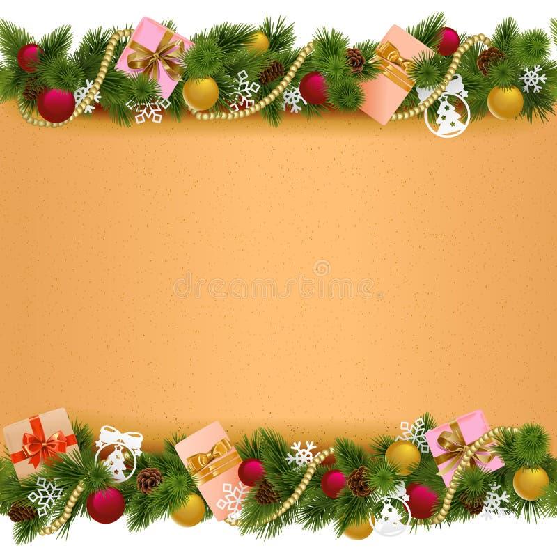 Frontière de Noël de vecteur avec le rouleau de papier illustration stock
