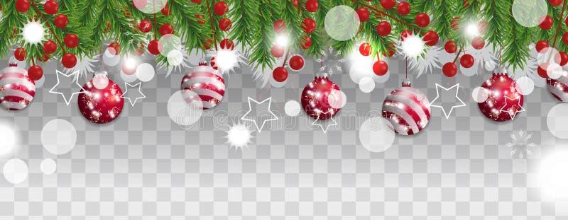 Frontière de Noël et de bonne année des branches d'arbre de Noël avec les boules rouges et des baies de houx sur le fond transpar illustration de vecteur