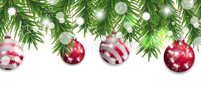 Frontière de Noël et de bonne année des branches d'arbre de Noël avec les boules rouges d'isolement sur le fond blanc Décoration  illustration libre de droits