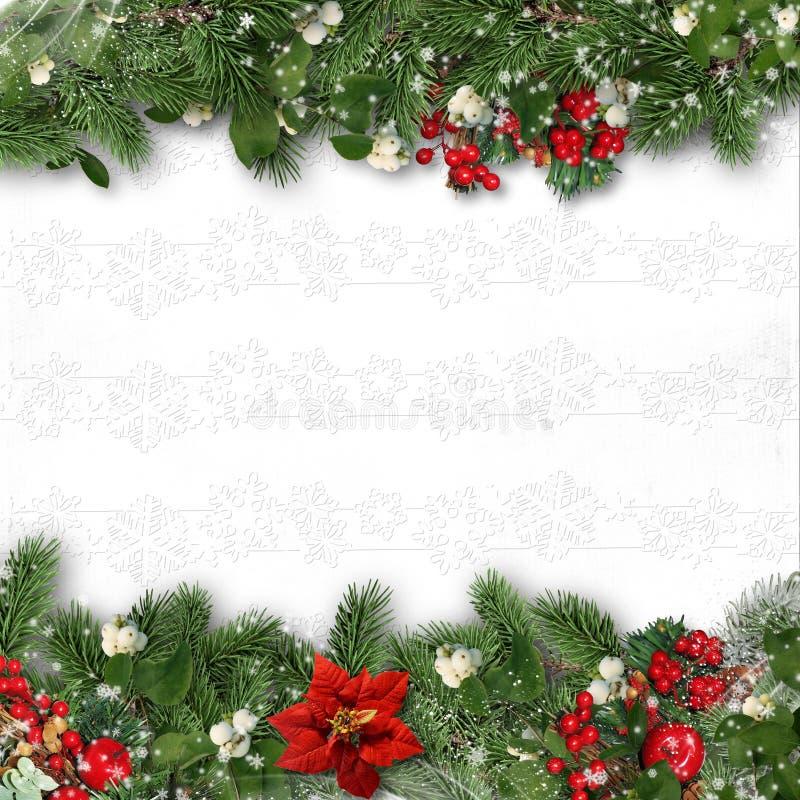 Frontière de Noël sur le fond blanc avec le houx, sapin, vÃscum photographie stock libre de droits