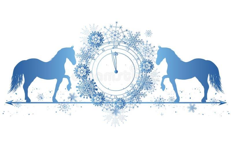 Frontière de nouvelle année avec les chevaux et l'horloge illustration stock