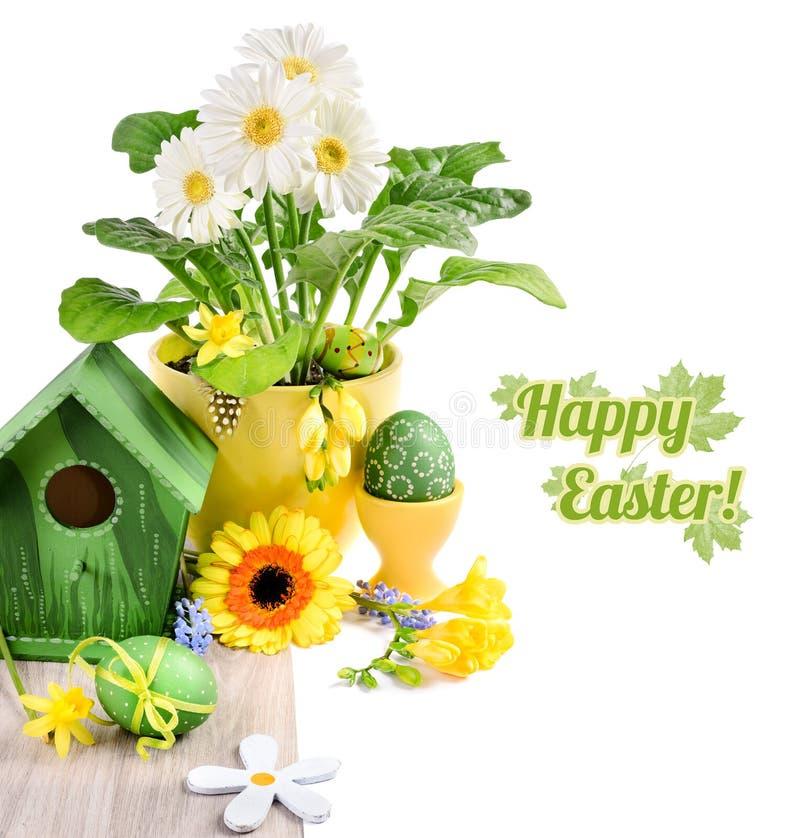 Frontière de Pâques avec des fleurs de ressort et des décorations faites main sur l'OE image libre de droits
