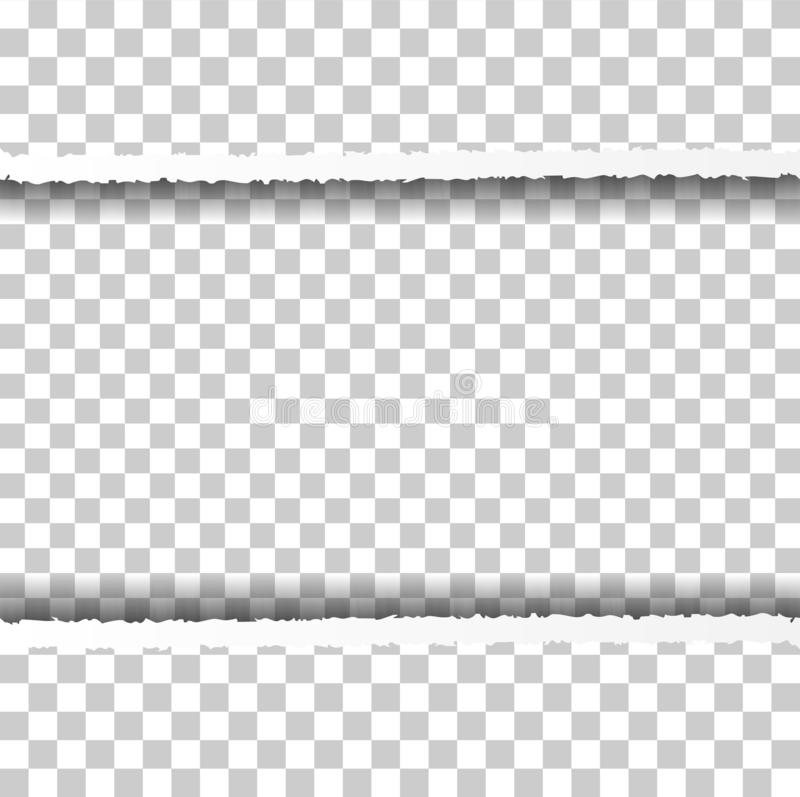 Frontière de papier déchirée droite avec des ombres d'isolement sur le fond transparent Bord de papier horizontal réaliste illustration de vecteur