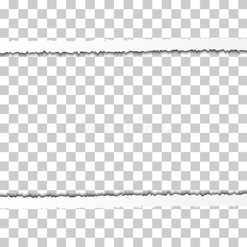 Frontière de papier déchirée saisie droite avec des ombres d'isolement sur le fond transparent Bord de papier horizontal réaliste illustration de vecteur