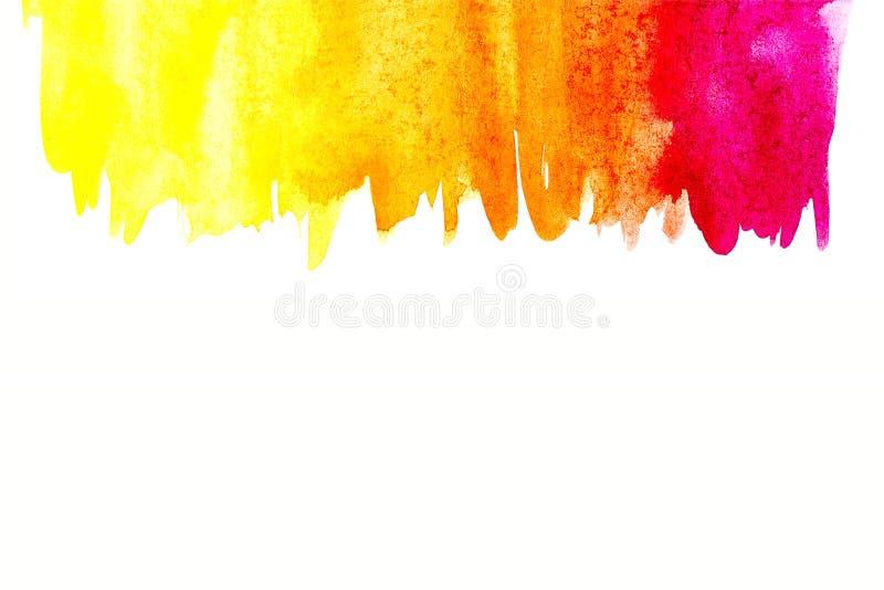 Frontière de peinture abstraite de main d'art d'aquarelle sur le fond blanc Fond d'aquarelle image libre de droits