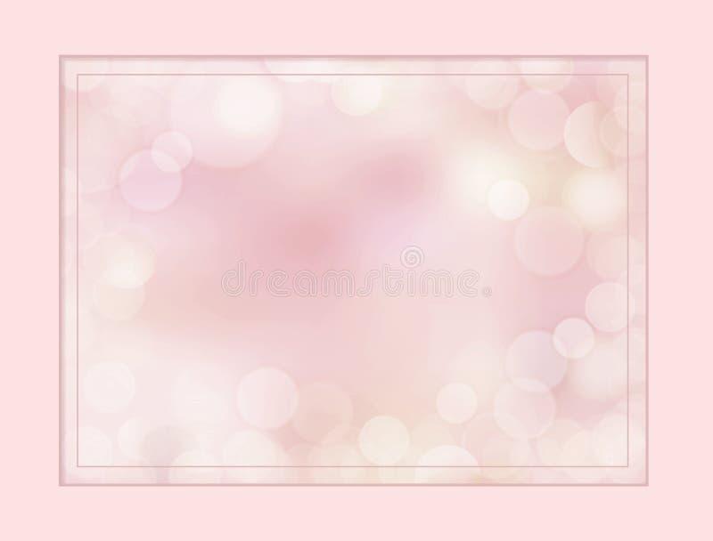 Frontière de rose rose d'abricot et fond neutres de defocus de bokeh illustration de vecteur