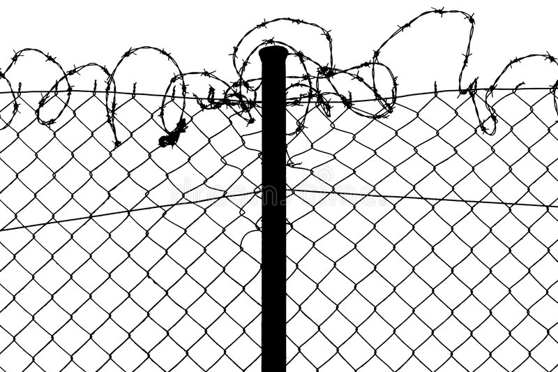 Frontière de sécurité avec le barbelé illustration libre de droits