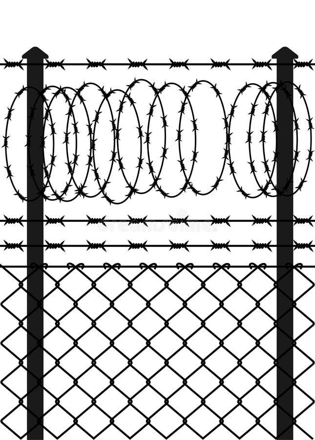 Frontière de sécurité de fil avec les fils barbelés illustration stock