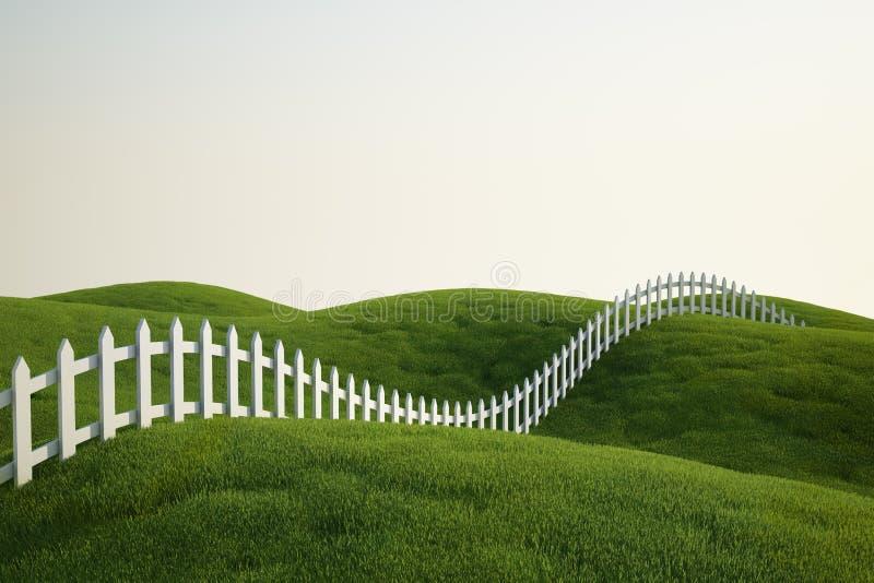 Frontière de sécurité de piquet blanche sur l'herbe illustration stock