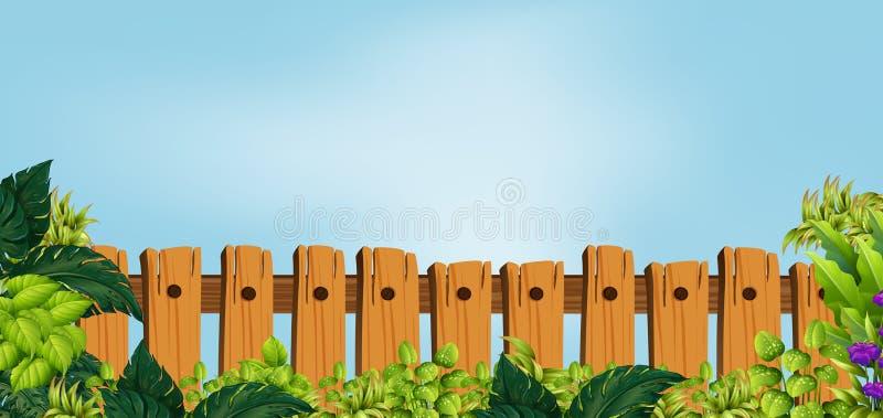 Frontière de sécurité en bois dans le jardin illustration de vecteur