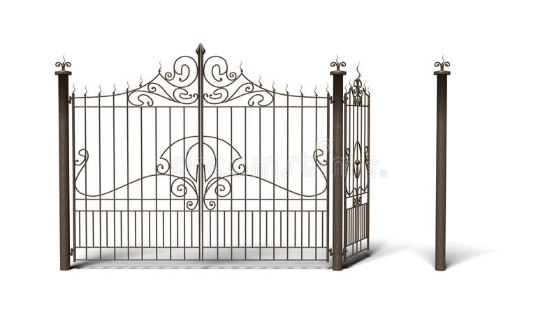 Frontière de sécurité en bronze sur le blanc photographie stock libre de droits