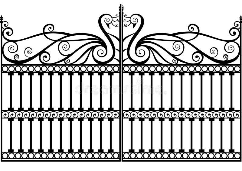 Frontière de sécurité ou porte de fer travaillé illustration de vecteur