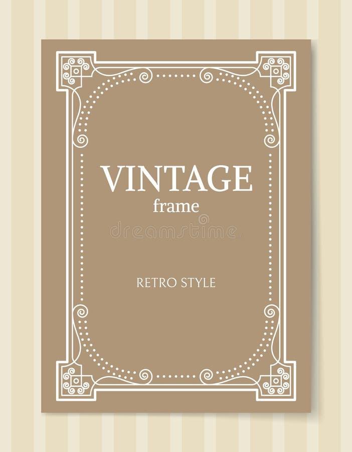 Frontière de style de cadre de vintage rétro sur le beige illustration de vecteur