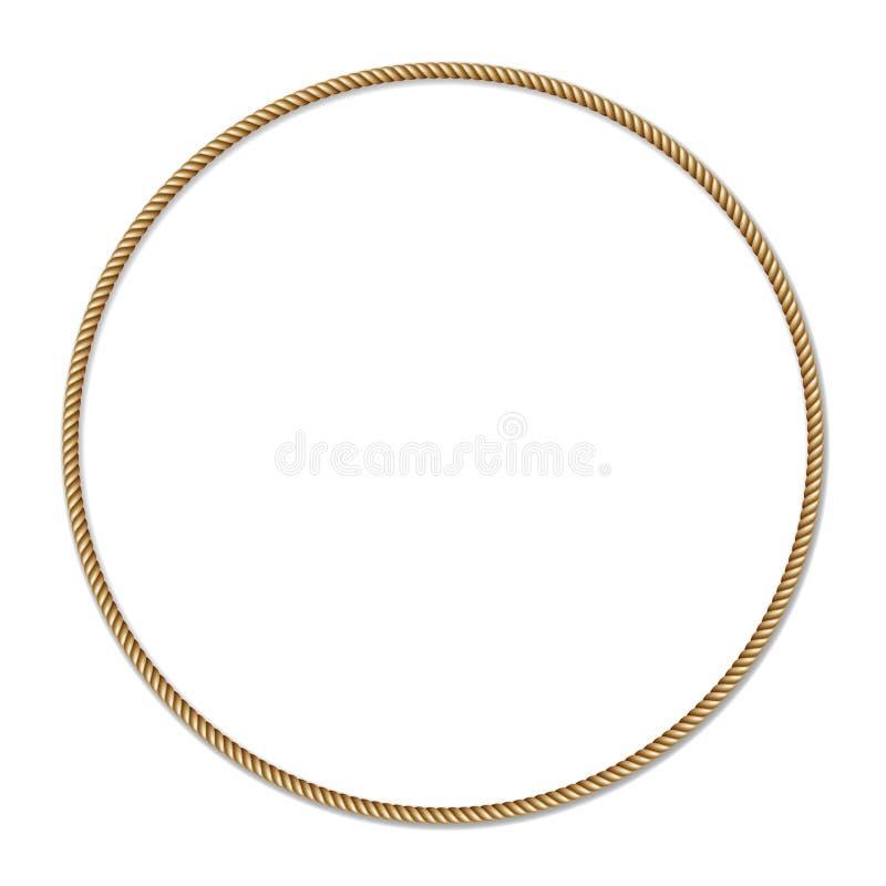 Frontière de vecteur de cercle tissée par corde jaune, cadre de vecteur du cercle e illustration stock