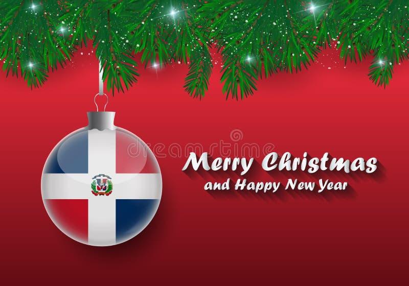 Frontière de vecteur des branches et de la boule d'arbre de Noël avec le dominicain illustration libre de droits