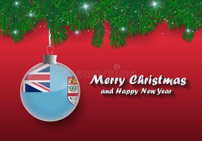 Frontière de vecteur des branches et de la boule d'arbre de Noël avec le drapeau du Fiji illustration de vecteur