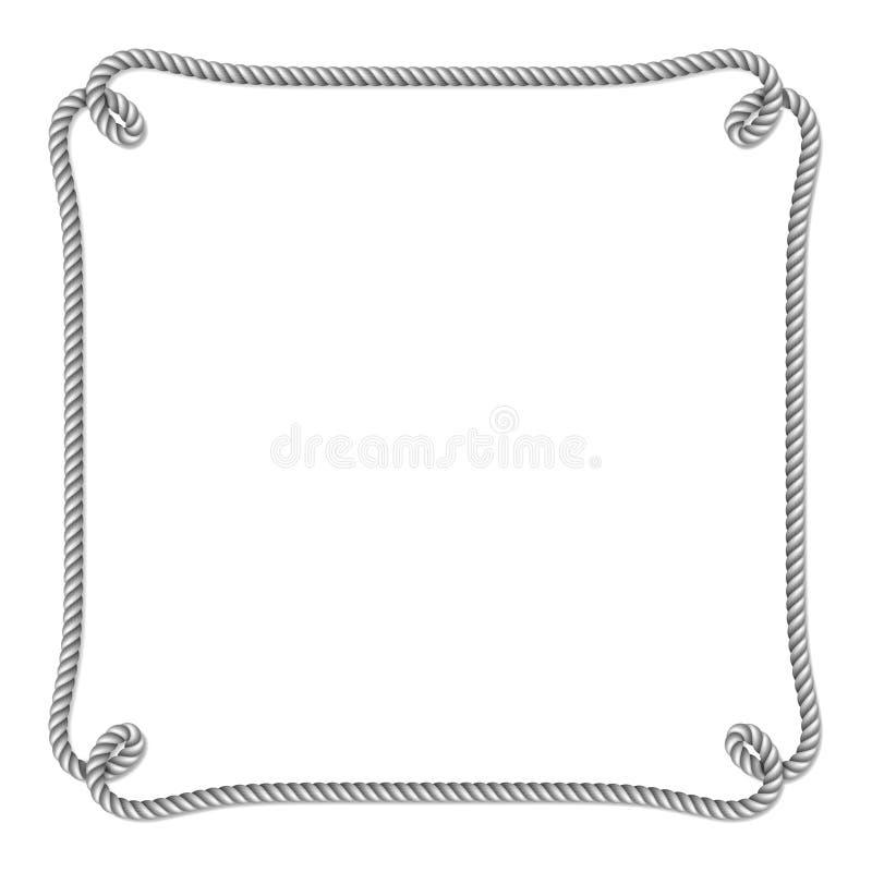 Frontière de vecteur tissée par corde de blanc gris avec des noeuds de corde, cadre vertical de vecteur illustration stock