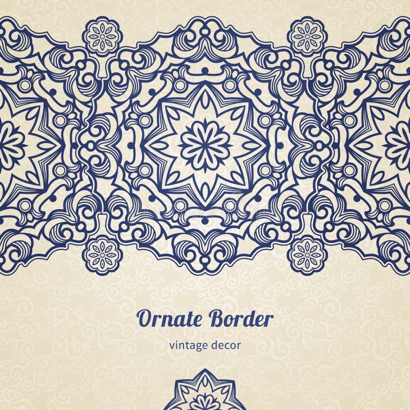 Frontière de vintage de vecteur dans le style oriental illustration de vecteur