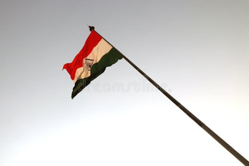 Frontière de Wagha dans Panjab, Inde le 15 décembre en 2018 : - drapeau national indien ondulant dans le vent image stock