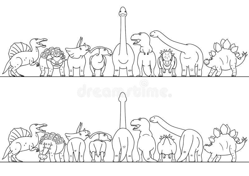 Frontière dinosaure de schéma illustration stock