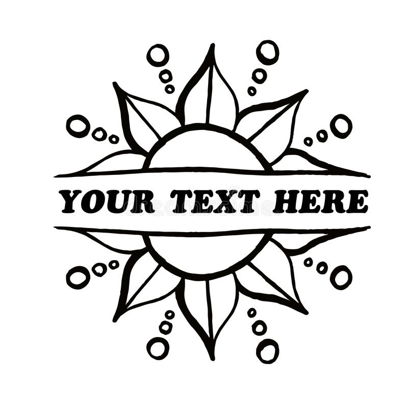 Frontière double face de fleur de vecteur décoratif votre texte ici illustration stock