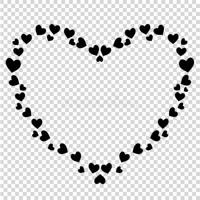 Frontière en forme de coeur noire mignonne de vecteur pour la valentine, conception romane d'amour illustration libre de droits