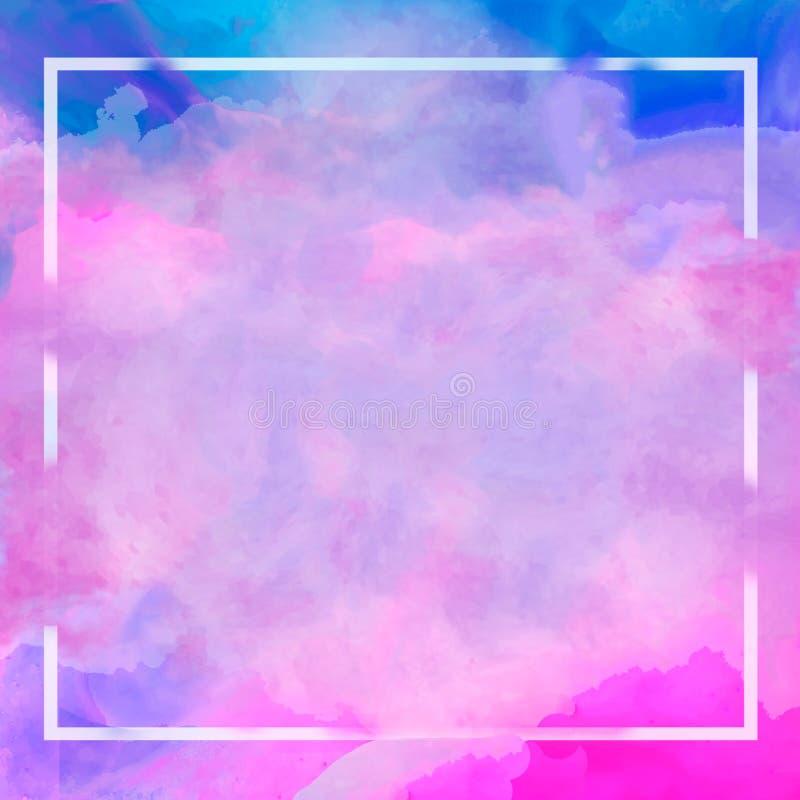 Frontière en pastel rose bleue pourpre de cadre d'aquarelle de résumé Fond pour le Web, copie, blanc illustration de vecteur