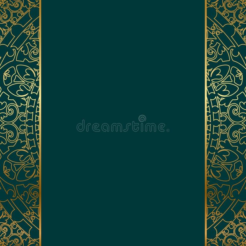 Frontière fleurie de turquoise et d'or illustration stock