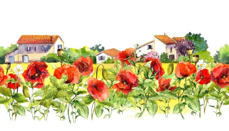 Frontière florale avec des pavots, maisons rurales de ferme Fleurs de pré d'aquarelle, herbe, herbes Cadre sans couture de bande photo libre de droits