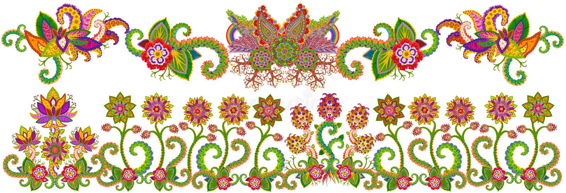 Frontière florale de jardin de ressort illustration de vecteur