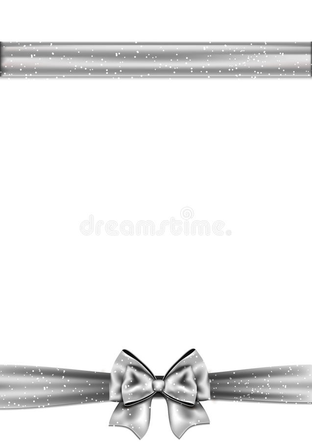 Frontière horizontale d'arc argenté de ruban illustration de vecteur