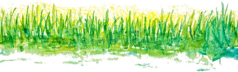 Frontière linéaire d'herbe d'aquarelle illustration libre de droits